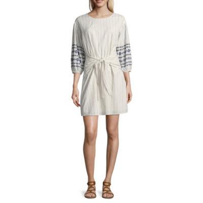 a.n.a. Tie Waist Embroidered 3/4 Sleeve Shirt Dress
