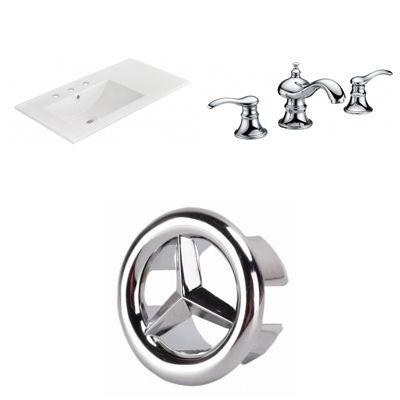 35.5-in. W 3H8-in. Ceramic Top Set In White Color- CUPC Faucet Incl.