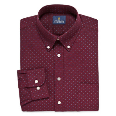 Stafford Travel Wrinkle Free Stretch Oxford Long Sleeve Dots Dress Shirt - Big And Tall