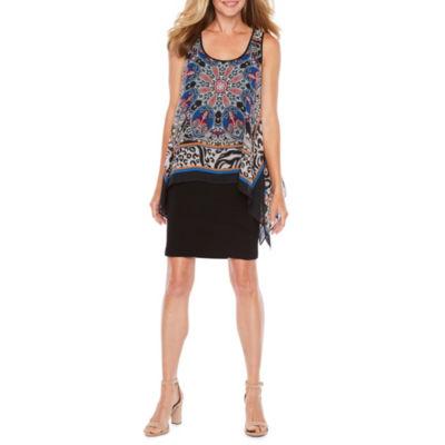 S. L. Fashions Sleeveless Pattern Sheath Dress