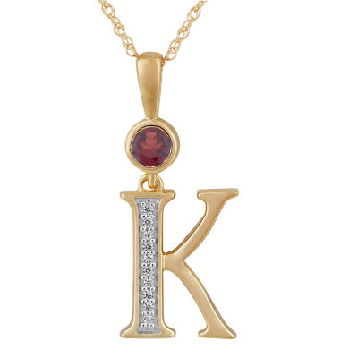 K Womens Genuine Red Garnet 14K Gold Over Silver Pendant Necklace