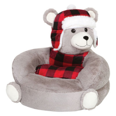 Trend Lab Children'S Plush Buffalo Check Bear Character Chair Kids Chair