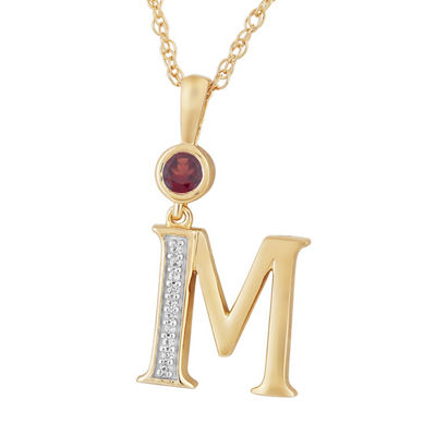 M Womens Genuine Red Garnet 14K Gold Over Silver Pendant Necklace