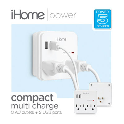 iHome Multi-Charge Wall Plate - 3 Pass Throughs and 2 USB Ports