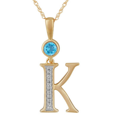 K Womens Genuine Blue Topaz 14K Gold Over Silver Pendant Necklace