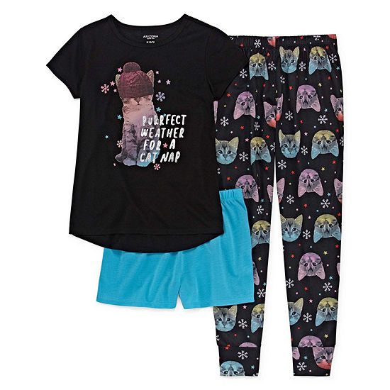 Arizona 3pc Cat Nap Pajama Set - Girls 4-16   Plus 68a0bf29b