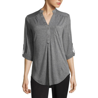 by&by Elbow Sleeve V Neck Knit Blouse-Juniors