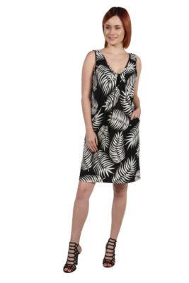 24Seven Comfort Apparel Aviana Black Feather Pattern Mini Dress