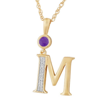 M Womens Genuine Purple Amethyst 14K Gold Over Silver Pendant Necklace