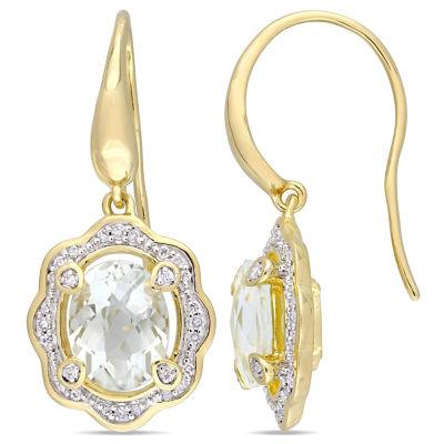 1/5 CT. T.W. Genuine Green Amethyst 18K Gold Over Silver Drop Earrings