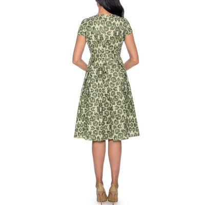 Giovanna Collection Women's Printed Brocade Pleated A-line Dress