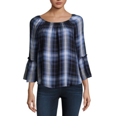 by&by Womens Scoop Neck 3/4 Sleeve Woven Blouse-Juniors
