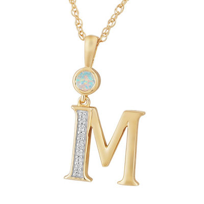 M Womens Lab Created White Opal 14K Gold Over Silver Pendant Necklace