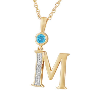 M Womens Genuine Blue Topaz 14K Gold Over Silver Pendant Necklace