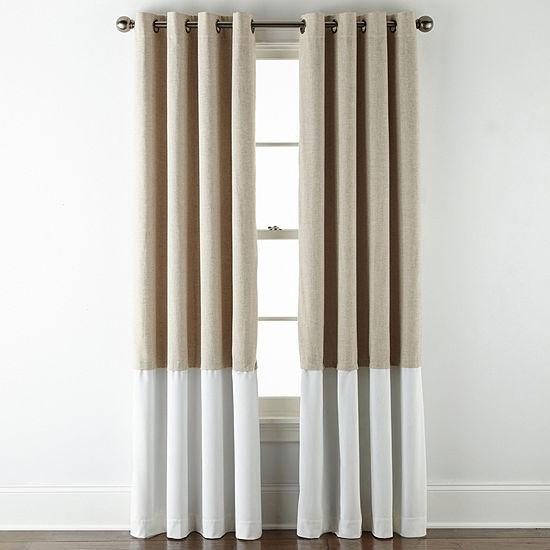 Liz Claiborne Holland Pieced Bo 100% Blackout Grommet-Top Single Curtain Panel