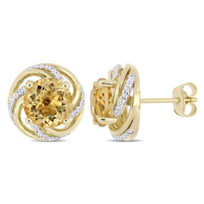 Genuines Yellow Citrine 18K Gold Over Silver 12.9mm Stud Earrings