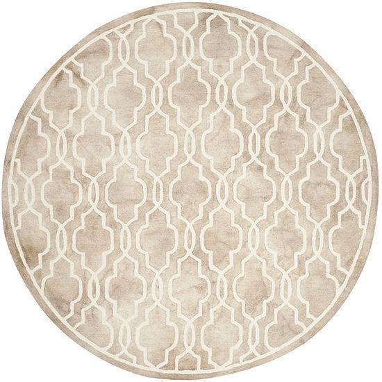 Safavieh Dip Dye Collection Jalen Geometric Round Area Rug