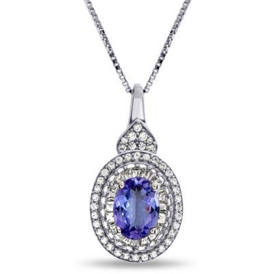 Womens Genuine Purple Tanzanite Sterling Silver Pendant Necklace