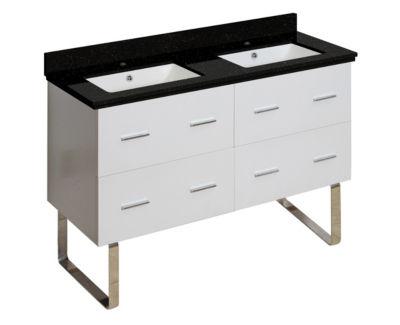 47.5-in. W Floor Mount White Vanity Set For 1 HoleDrilling Black Galaxy Top White UM Sink