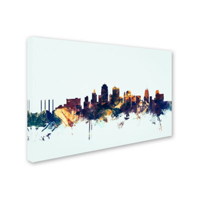 Trademark Fine Art Michael Tompsett Kansas City Skyline Blue Giclee Canvas Art