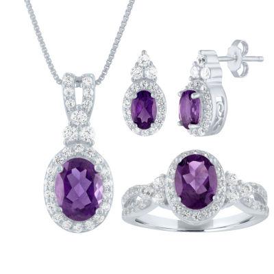 Genuine Purple Amethyst Sterling Silver 3-pc. Jewelry Set