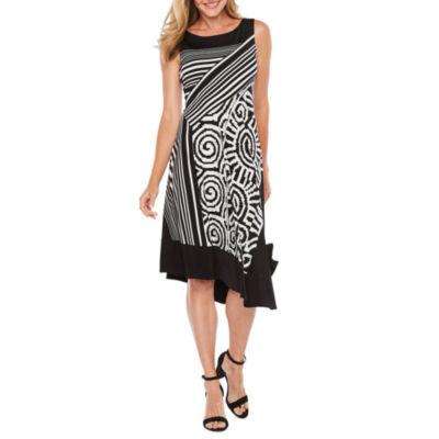 Rabbit Rabbit Rabbit Design Sleeveless Stripe A-Line Dress