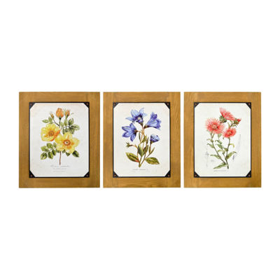 New View Floral Wood Backer 3pc Set 3-pc. Wall Sign