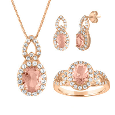 Womens 3-pc. Simulated Morganite 14K Rose Gold Over Silver Jewelry Set