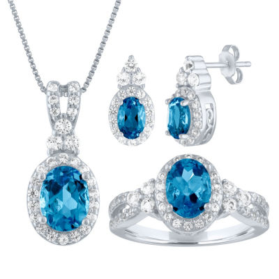 Genuine Blue Topaz Sterling Silver 3-pc. Jewelry Set