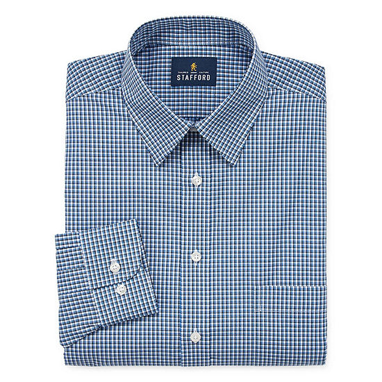 Stafford Travel Stretch Performance Super Shirt Mens Point Collar Long Sleeve Wrinkle Free Stretch Dress Shirt