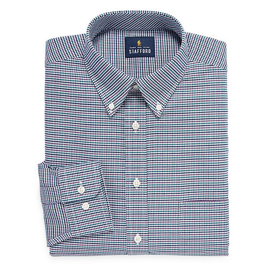 Stafford Travel Wrinkle Free Stretch Oxford Long Sleeve Checked Dress Shirt