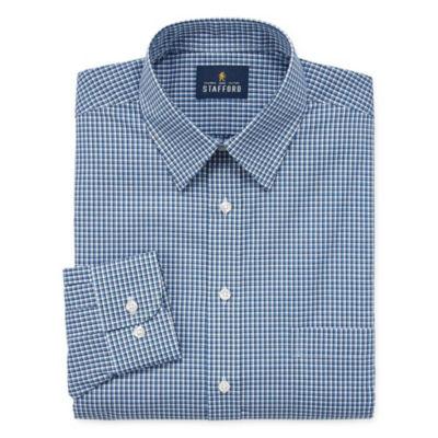Stafford Travel Stretch Performance Super Shirt Long Sleeve Broadcloth Checked Dress Shirt