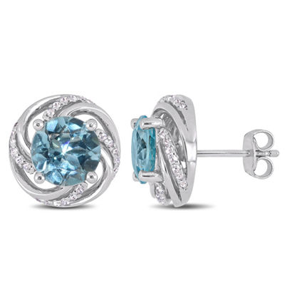 Genuine Blue Topaz Sterling Silver 13mm Stud Earrings