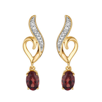 Diamond Accent Genuine Red Garnet 10K Gold Oval Drop Earrings