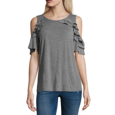 a.n.a Cold Shoulder Round Neck Tee