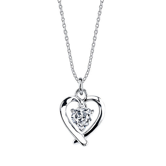 Footnotes Mom Cubic Zirconia Sterling Silver 18 Inch Cable Heart Pendant Necklace