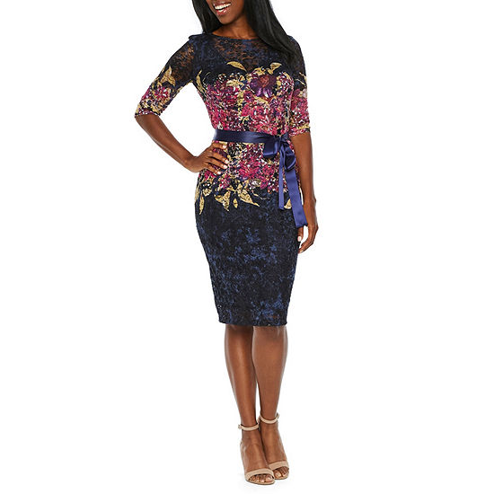 Be By Chetta B 3 4 Sleeve Floral Lace Sheath Dress