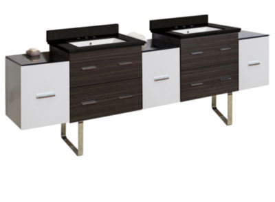 90-in. W Floor Mount White-Dawn Grey Vanity Set For 3H8-in. Drilling Black Galaxy Top White UM Sink