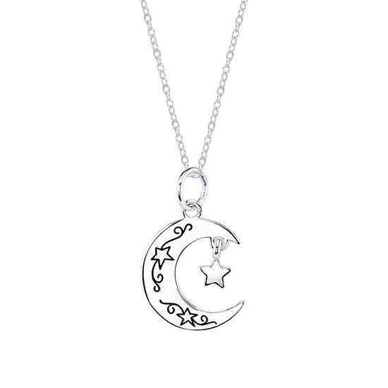 Footnotes Friend Sterling Silver Crescent Shaped Pendant Necklace