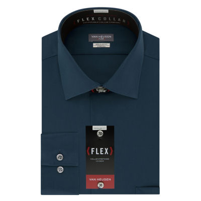 Van Heusen Vh Flex Stretch B&T Long Sleeve Broadcloth Dress Shirt