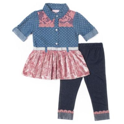 Little Lass 2pc Lace Velvet Top Legging Set-Baby Girls