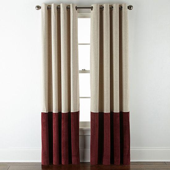Liz Claiborne Holland Linen/ Velvet Pieced 100% Blackout Grommet- Top Curtain Panel