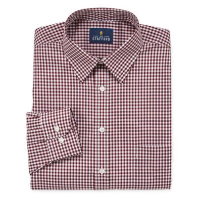 Stafford Travel Stretch Performance Super Shirt Long Sleeve Broadcloth Gingham Dress Shirt