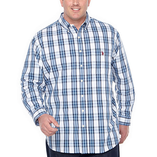 U.S. Polo Assn. Mens Long Sleeve Plaid Button-Front Shirt Big and Tall