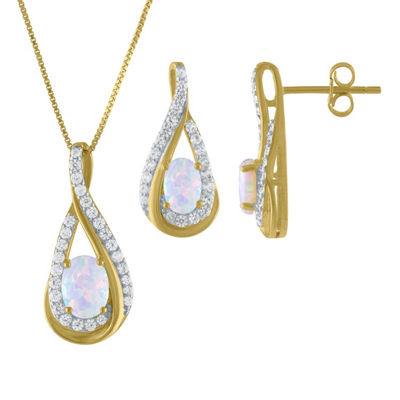 Lab Created Multi Color Opal 14K Gold Over Silver 2-pc. Jewelry Set