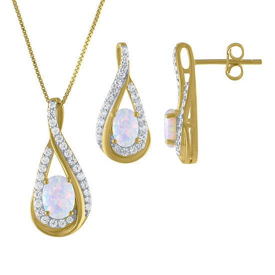 Lab Created White Opal 14K Gold Over Silver 2-pc. Jewelry Set