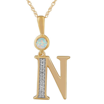 N Womens Lab Created White Opal 14K Gold Over Silver Pendant Necklace