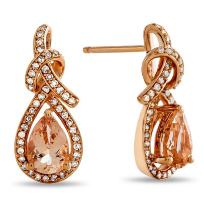Genuine Pink Morganite 10K Rose Gold Drop Earrings