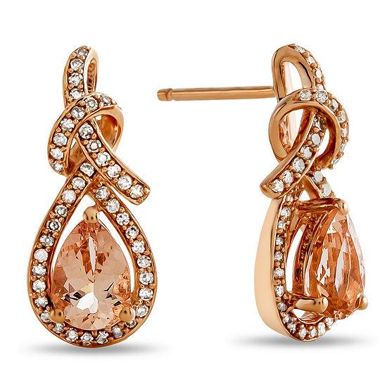 Genuine Pink Morganite 10k Rose Gold Drop Earrings