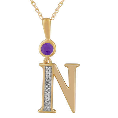 N Womens Genuine Purple Amethyst 14K Gold Over Silver Pendant Necklace